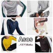 ASOS Crew Neck Long Sleeves Plain Cotton Long Sleeve T-Shirts