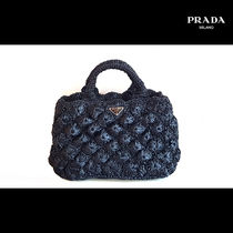 PRADA Unisex Blended Fabrics Street Style A4 2WAY Plain Crossbody