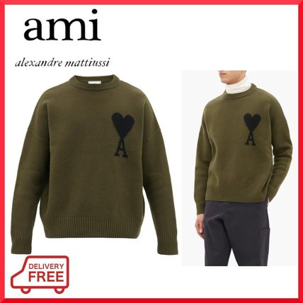 Crew Neck Pullovers Unisex Wool Long Sleeves Plain Cotton