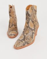 Free People Cowboy Boots Square Toe Casual Style Street Style Leather