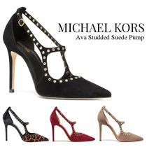 Michael Kors Suede Studded Plain Leather Pin Heels Party Style