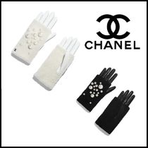 CHANEL Leather Shearling Logo Leather & Faux Leather Gloves