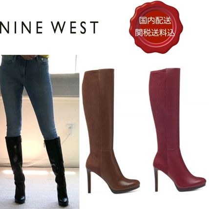 Plain Leather Pin Heels Party Style High Heel Boots