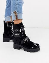 Love Moschino Round Toe Lace-up Casual Style Studded Leather Lace-up Boots