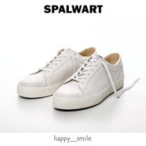 SPALWART Unisex Plain Leather Sneakers