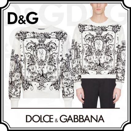 Dolce & Gabbana Sweatshirts Flower Patterns Blended Fabrics Long Sleeves Plain