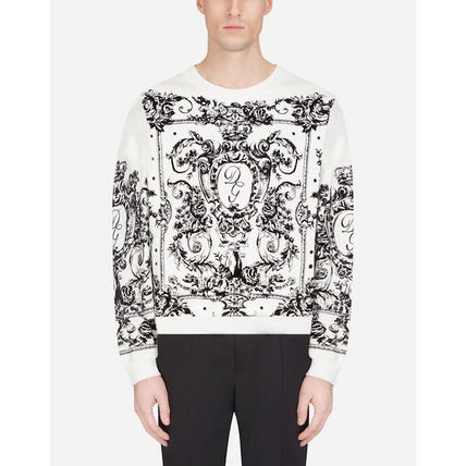 Dolce & Gabbana Sweatshirts Flower Patterns Blended Fabrics Long Sleeves Plain 2