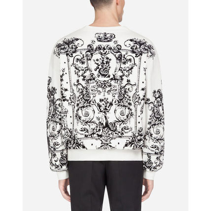 Dolce & Gabbana Sweatshirts Flower Patterns Blended Fabrics Long Sleeves Plain 3