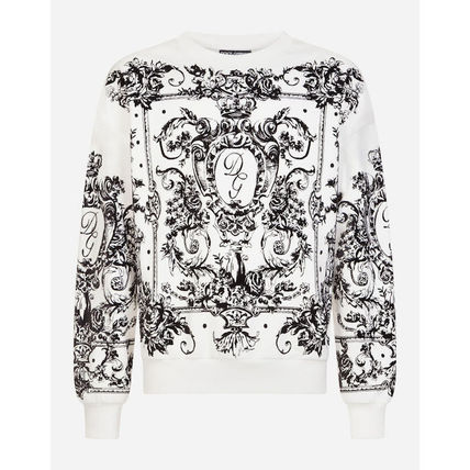 Dolce & Gabbana Sweatshirts Flower Patterns Blended Fabrics Long Sleeves Plain 4