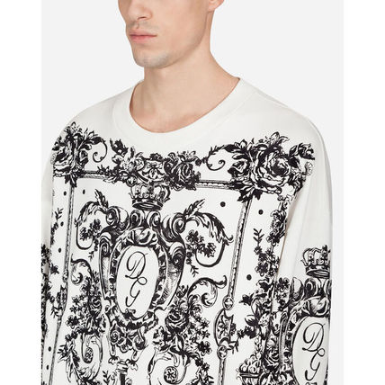 Dolce & Gabbana Sweatshirts Flower Patterns Blended Fabrics Long Sleeves Plain 5