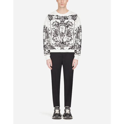 Dolce & Gabbana Sweatshirts Flower Patterns Blended Fabrics Long Sleeves Plain 6