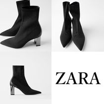 ZARA Casual Style Plain Elegant Style Ankle & Booties Boots