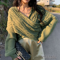 Cable Knit Short Casual Style V-Neck Long Sleeves Medium