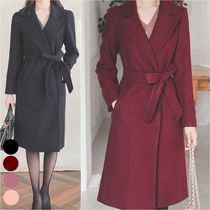 Stand Collar Coats Monogram Wool Cashmere Suede Nylon