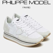 PHILIPPE MODEL PARIS Wedge Plain Toe Casual Style Street Style Plain Leather