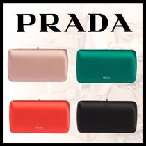 PRADA 2WAY Chain Plain Party Style Elegant Style Clutches