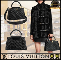 Louis Vuitton CAPUCINES Flower Patterns Casual Style Lambskin A4 2WAY Plain Leather