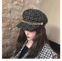Blended Fabrics Studded Street Style Chain Bold Beret