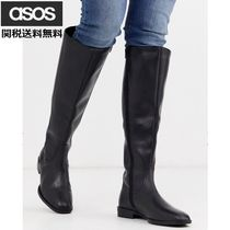 ASOS Plain Toe Plain Leather Block Heels Over-the-Knee Boots