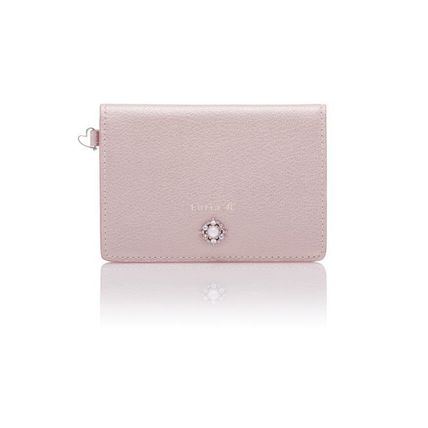 Plain Leather With Jewels Logo Card Holders