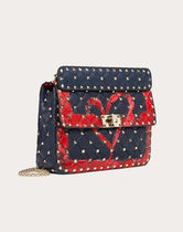 VALENTINO Heart Casual Style Studded 3WAY Leather Handmade Party Style