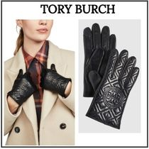 Tory Burch Plain Leather Logo Leather & Faux Leather Gloves