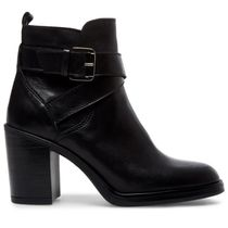 Steve Madden Round Toe Casual Style Plain Leather Block Heels