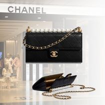 CHANEL Chain Leather Party Style With Jewels Elegant Style Clutches
