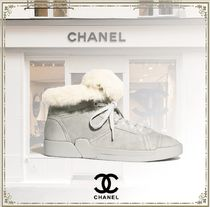CHANEL Round Toe Rubber Sole Casual Style Blended Fabrics Plain