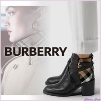 Burberry Other Check Patterns Plain Toe Casual Style Blended Fabrics