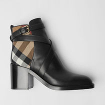 Burberry Other Plaid Patterns Plain Toe Casual Style Blended Fabrics