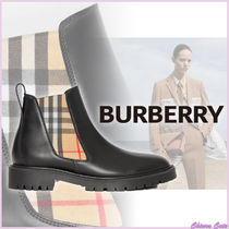 Burberry Other Check Patterns Plain Toe Rubber Sole Casual Style