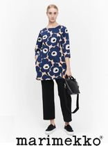 marimekko Flower Patterns Boat Neck Long Sleeves Cotton Medium Tunics