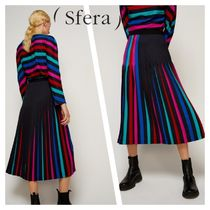 Sfera Stripes Medium Elegant Style Midi Skirts