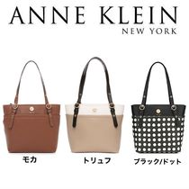 Anne Klein Dots Plain PVC Clothing Office Style Totes