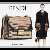 FENDI Chain Plain Leather Elegant Style Shoulder Bags