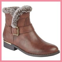 Lipsy Round Toe Casual Style Faux Fur Plain Leather Chunky Heels
