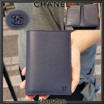 CHANEL ICON Unisex Plain Leather Wallets & Card Holders