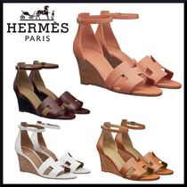 HERMES Open Toe Platform Casual Style Velvet Plain Leather