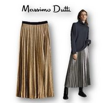 Massimo Dutti Casual Style Pleated Skirts Plain Long Office Style