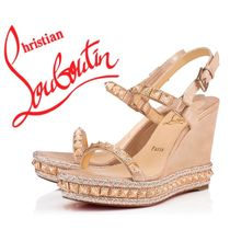Christian Louboutin Open Toe Platform Casual Style Suede Studded Plain