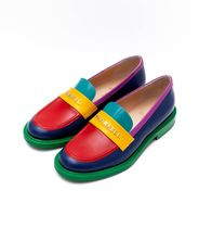 CHANEL Loafers Unisex Street Style Collaboration Bi-color Leather