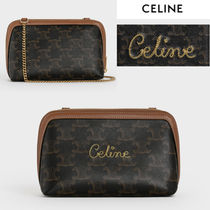 CELINE Triomphe Monogram Casual Style Canvas Lambskin Blended Fabrics 2WAY