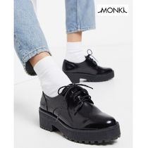 MONKI Platform Plain Toe Lace-up Casual Style Faux Fur Plain