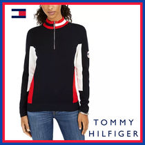 Tommy Hilfiger Street Style Bi-color Long Sleeves Plain Cotton Medium