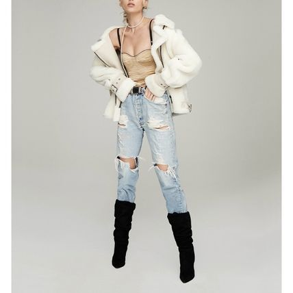 Short Fur Street Style Plain Leather Oversized Logo