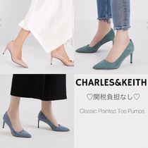 Charles&Keith Casual Style Faux Fur Plain Pin Heels Stiletto Pumps & Mules