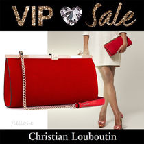 Christian Louboutin 2WAY Chain Plain Handmade Party Style Elegant Style Clutches