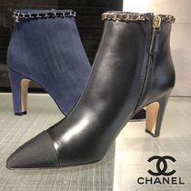 CHANEL Plain Handmade Elegant Style Ankle & Booties Boots