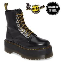 Dr Martens Platform Round Toe Lace-up Casual Style Plain Leather